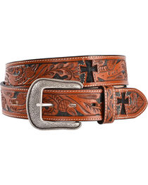 3D Hair-on-Hide Inlay Cross Tooled Leather Belt, , hi-res