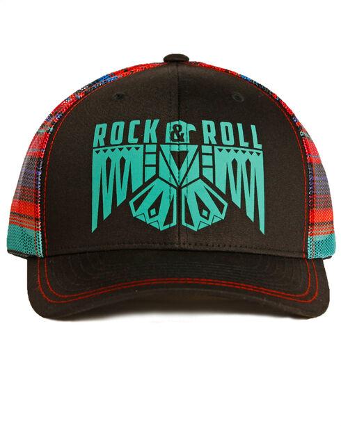 Rock & Roll Cowgirl Women's Serape Mesh Thunderbird Cap , Black, hi-res