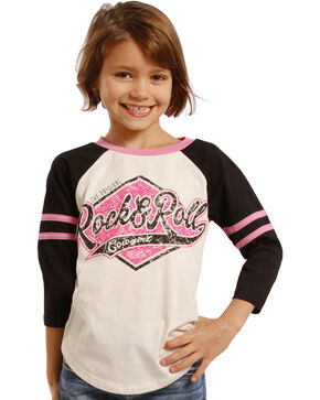 Rock & Roll Cowgirl Girls' Varsity Baseball Tee, Black, hi-res