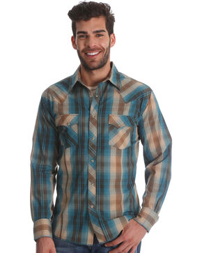 Wrangler Men's Teal Plaid Long Sleeve Western Shirt , Teal, hi-res