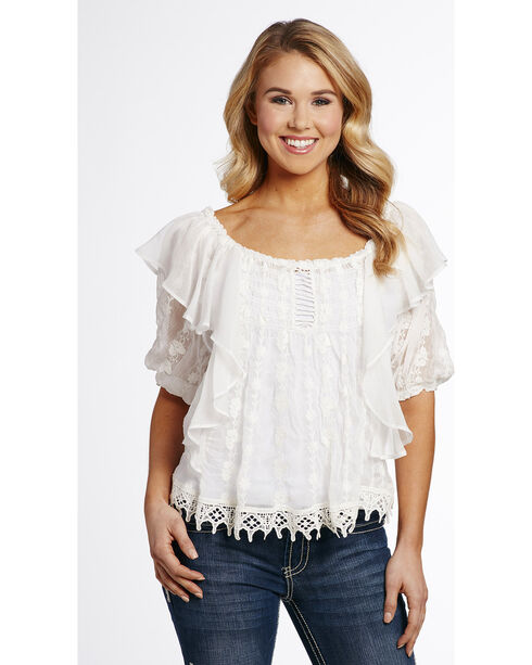 Cowgirl Up Women's Flowy Lace Blouse , White, hi-res