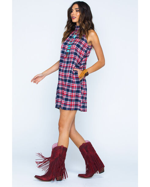 Given Kale Women's Plaid High Neck Dress , Indigo, hi-res
