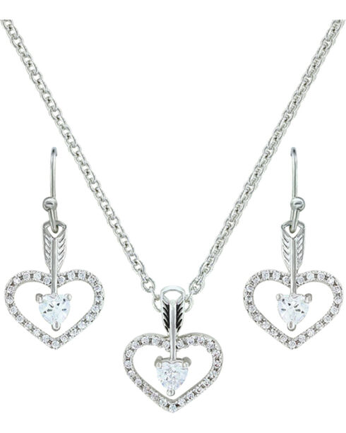 Montana Silversmiths Women's Straight to the Heart Jewelry Set, Silver, hi-res