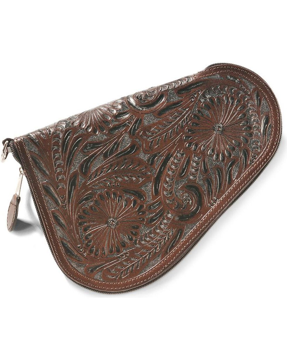 3D Small Floral Tooled Leather Pistol Case, Dark Brown, hi-res