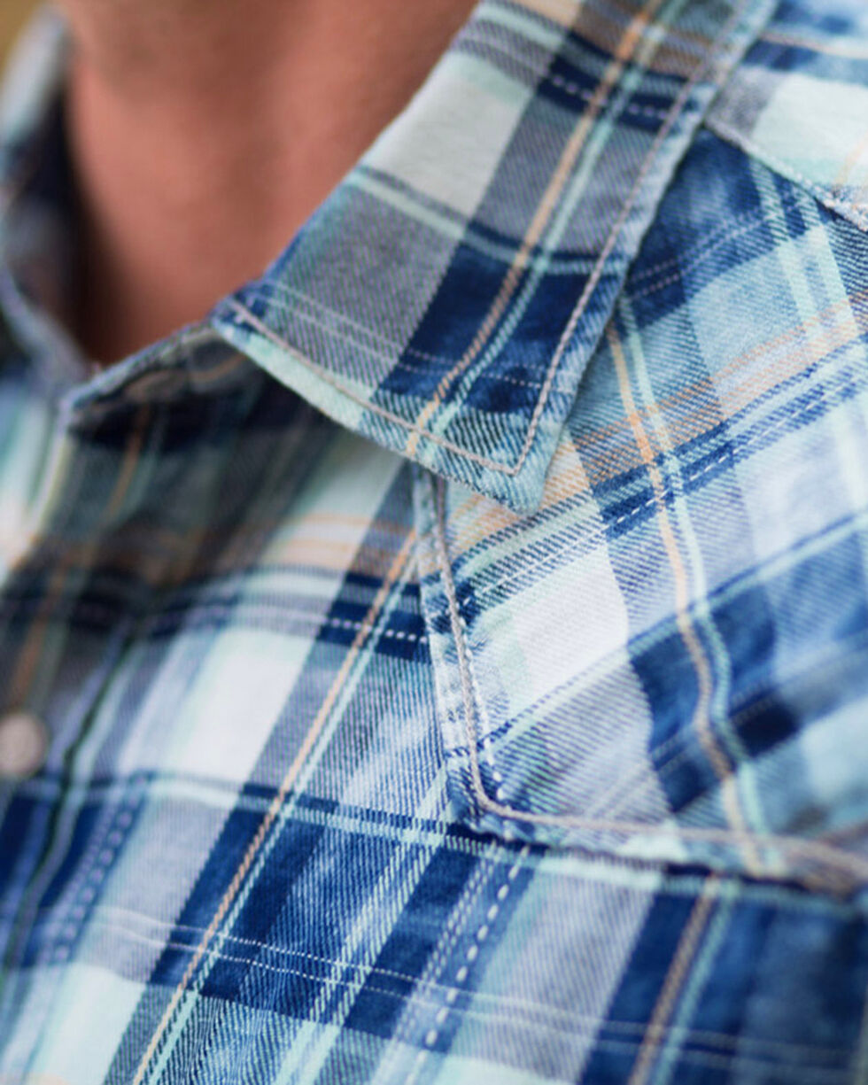Ryan Michael Men's Blue Pick Stitch Plaid Shirt , Indigo, hi-res