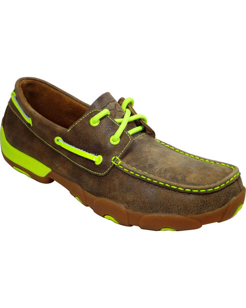 Twisted X Men's Lace Up Neon Driving Mocs, Brown, hi-res
