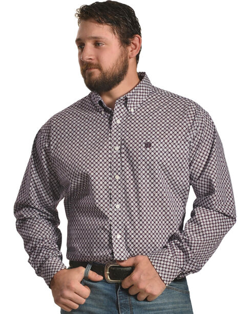 Cinch Men's Plain Weave Print Long Sleeve Shirt, White, hi-res
