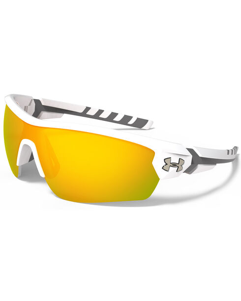 Under Armour Rival Satin White and Orange Lens Sunglasses , White, hi-res