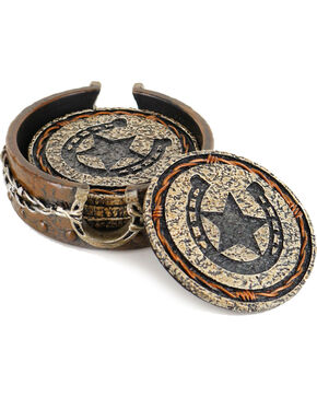 BB Ranch Barbed Wire Horseshoe Coaster Set with Holder, Brown, hi-res