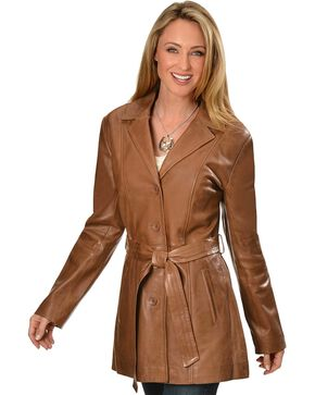 Scully Women's Lamb Knee-Length Coat, Brown, hi-res