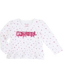 Wrangler Infant Girls' Long Sleeve Cowgirl Peplum Top, , hi-res