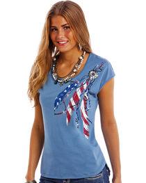 Panhandle Slim Women's Blue Americana Cap Sleeve T-Shirt , , hi-res