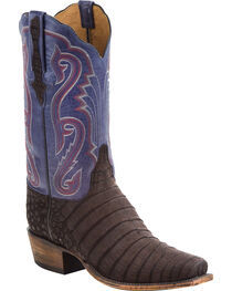 Lucchese Men's Owen Dark Brown/Navy Sueded Caiman Belly Western Boots - Square Toe, , hi-res