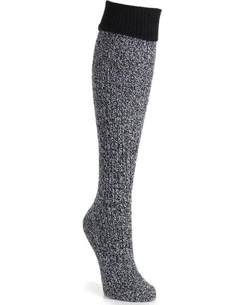 K-Bell Women's Soft & Dreamy Cuff Ribbed Knee High Socks, Black, hi-res