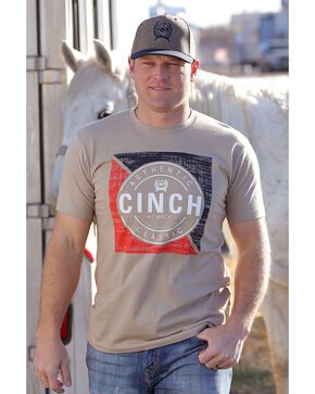 Cinch Men's Beige Heather Basic Short Sleeve Tee , Beige/khaki, hi-res