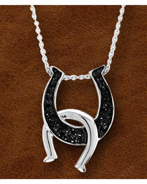 Kelly Herd Black Sterling Silver Double Horseshoe Necklace , , hi-res
