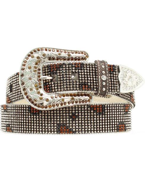Nocona Rhinestone Mesh Leopard Design Belt, Brown, hi-res