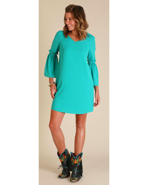 Wrangler Women's Bell Sleeve Dress, Green, hi-res