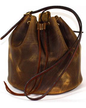 SouthLife Supply Women's Aged Bourbon Drawstring Bucket Bag, Brown, hi-res
