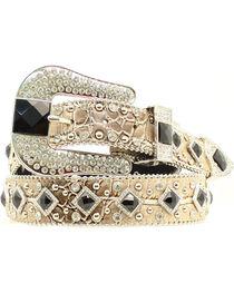 Nocona Women's Metallic Croc Embellished Belt, Gold, hi-res