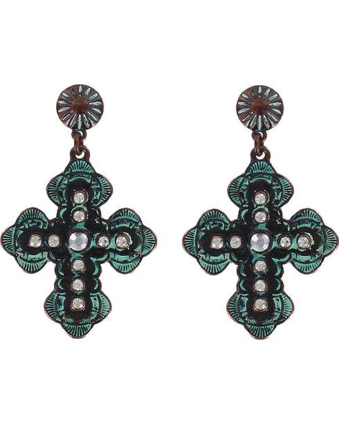 Shyanne® Women's Antiqued Western Cross Earrings , Turquoise, hi-res