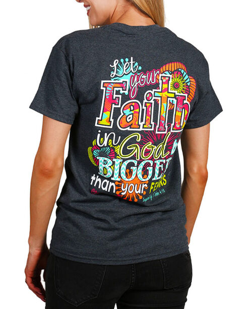 "Cherished Girl Women's ""Big Faith"" Graphic Tee, Dark Grey, hi-res"