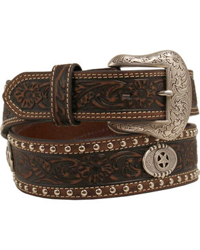 Nocona Tooled and Studded Concho Belt, Brown, hi-res
