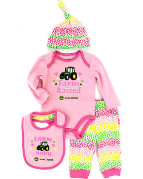 John Deere Infant Girls' Pink 4-Piece Layette Set, Pink, hi-res