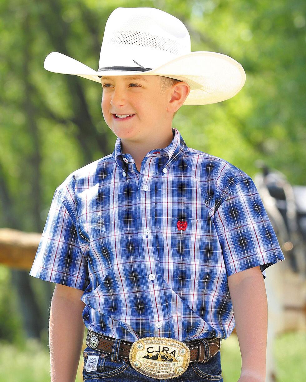 Cinch Boys' Blue Button Up Plaid Shirt , Blue, hi-res