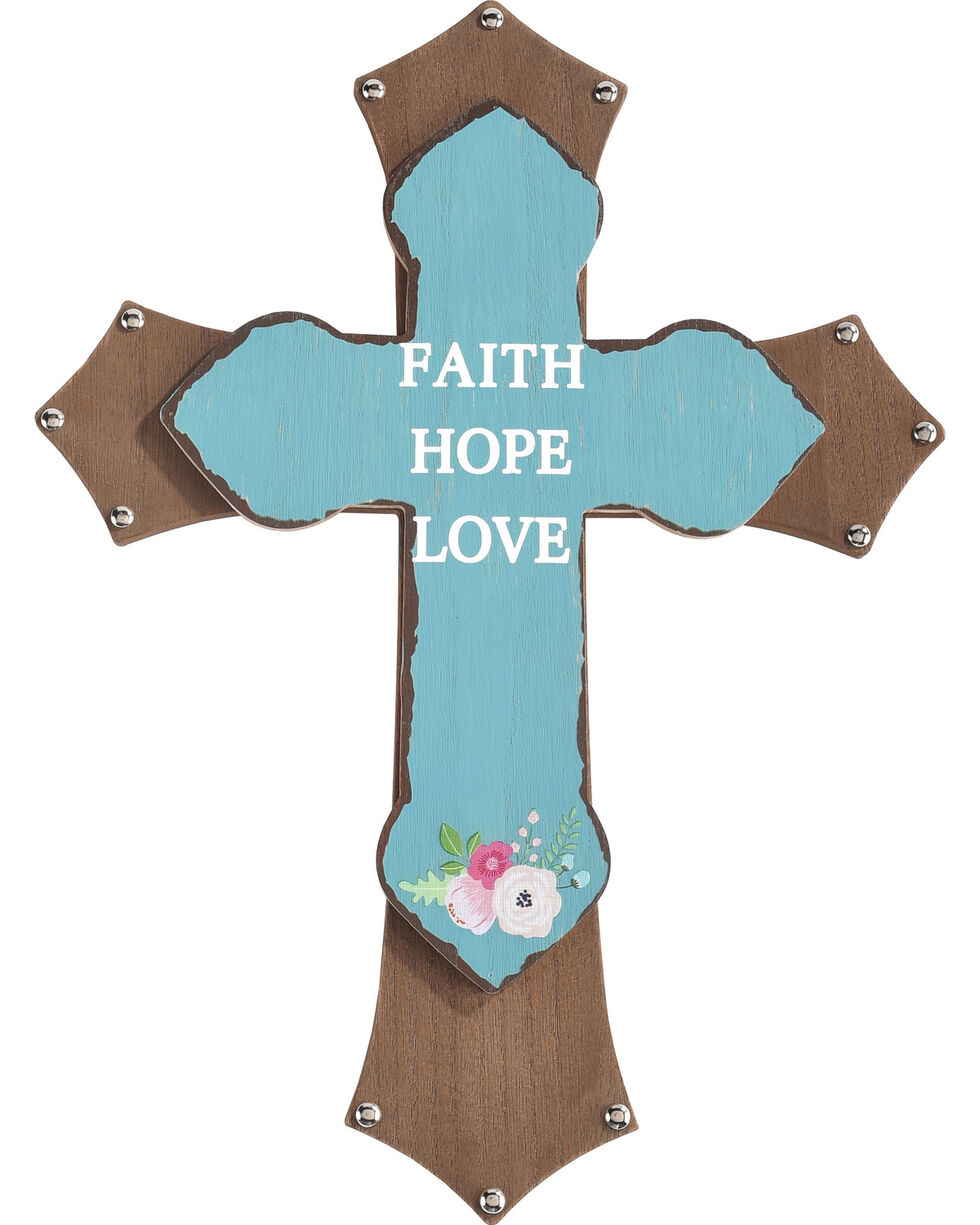 BB Ranch Faith Hope Love Wooden Wall Cross, No Color, hi-res