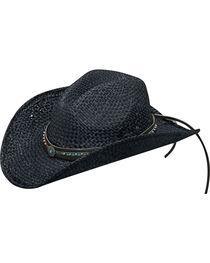Blazin Roxx Women's Black Turquoise Accents Raffia Hat , , hi-res