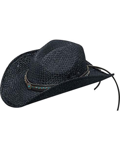 Blazin Roxx Women's Black Turquoise Accents Raffia Hat , Black, hi-res