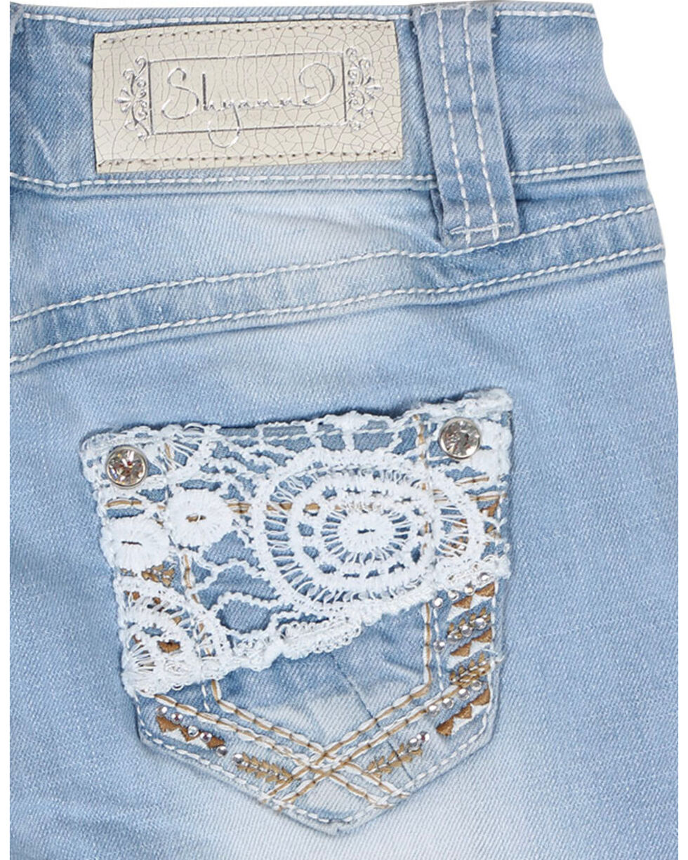 Shyanne® Girls' Lace & Bling Boot Cut Jeans, , hi-res