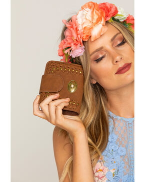 Shyanne® Women's Studded Snap Wallet , Brown, hi-res