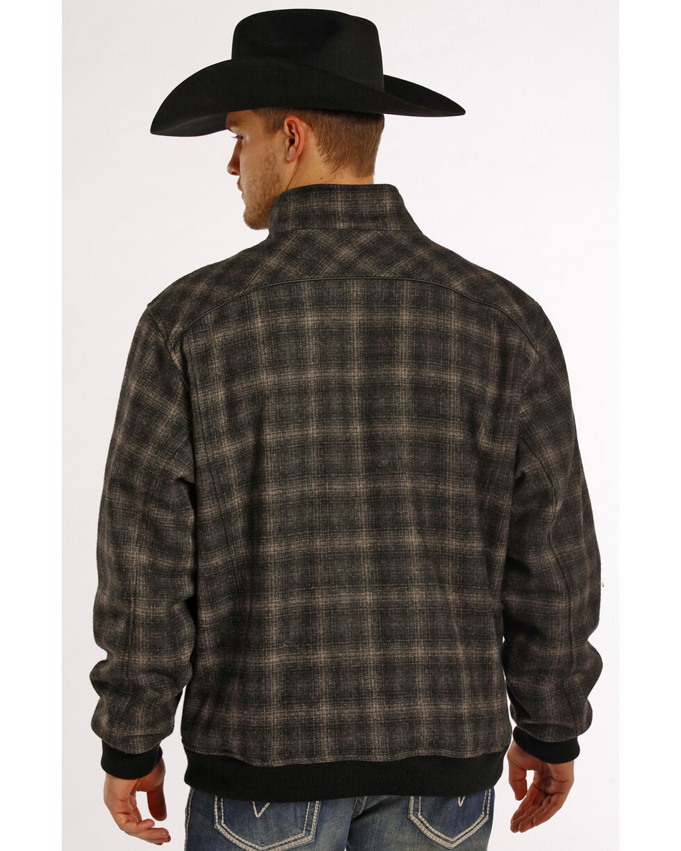 Powder River Outfitters Men's Black Plaid Wool Bomber Coat , , hi-res
