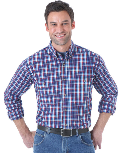 Wrangler Men's Rugged Wear Navy Plaid Long Sleeve Shirt, Navy, hi-res