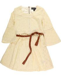 Shyanne Girls' Belted Ivory Lace Dress, , hi-res