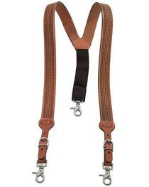 Nocona Embossed Basketweave Suspenders, , hi-res
