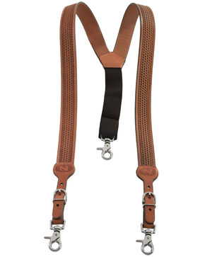 Nocona Embossed Basketweave Suspenders, Natural, hi-res