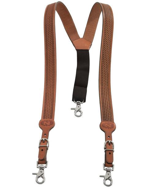 Nocona Embossed Basketweave Suspenders, Natural, hi-res