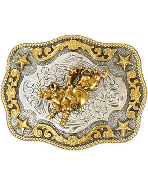 Nocona Boys' Rectangular Bull Riding Buckle, Silver, hi-res
