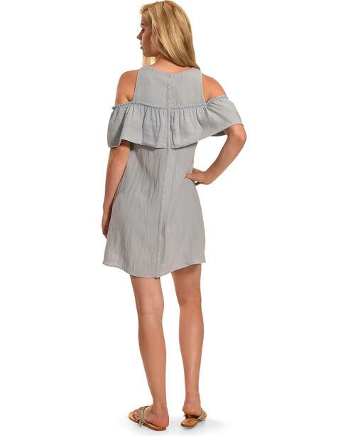 Polagram Women's Cold Shoulder Ruffle Dress , Blue, hi-res