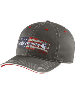 Carhartt Men's Distressed Flag Graphic Ball Cap, Charcoal Grey, hi-res