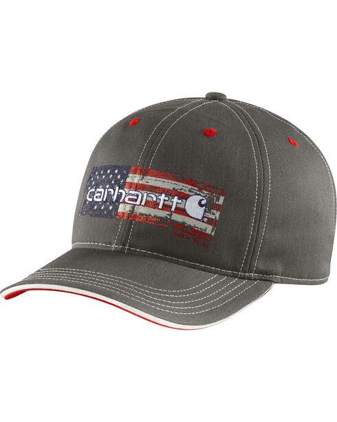 Carhartt Men's Distressed Flag Graphic Ball Cap, Charcoal Grey, hi-res