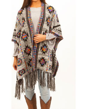 Shyanne Women's Colorful Aztec Esperanza Blanket Scarf, White, hi-res