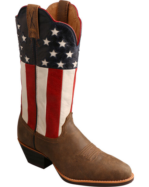 Twisted X Women's VFW American Flag Western Boots, Bomber, hi-res
