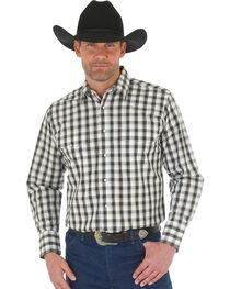 Wrangler Men's Wrinkle Resistant Black Plaid Western Snap Shirt, , hi-res