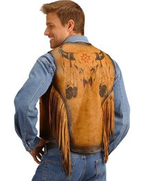 Kobler Leather Vest with Bull Skull Design, , hi-res
