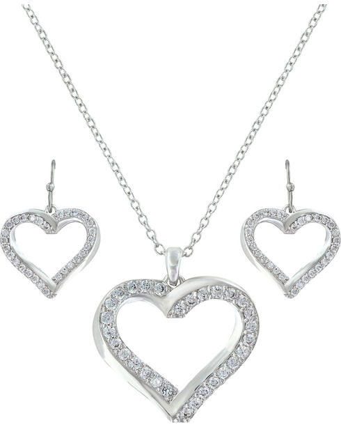 Montana Silversmiths Women Entwined Hearts Jewelry Set, Silver, hi-res