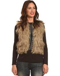 Shyanne Women's Faux Fur Cropped Vest, Brown, hi-res